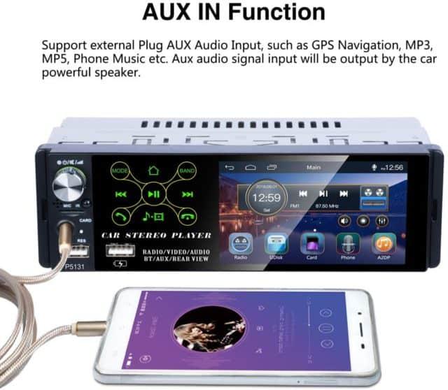 radio para coche compacta TOYOUSONIC 0.81 con entrada de audio
