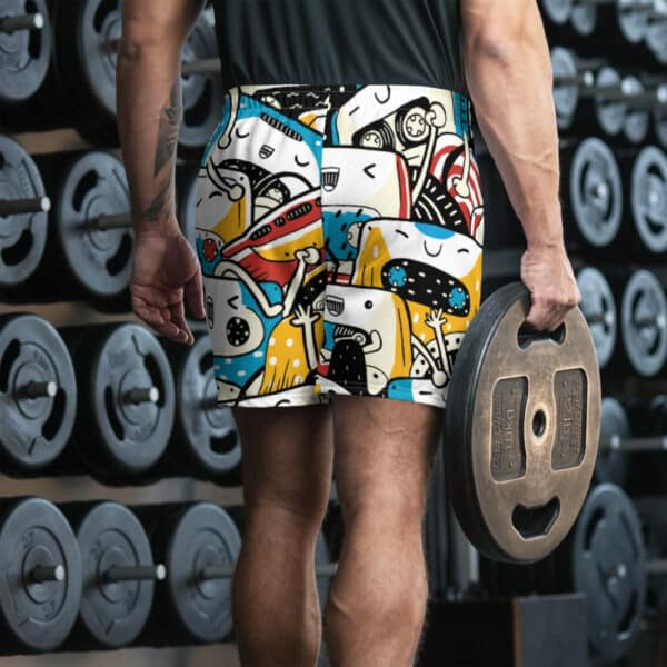 all over print mens athletic long shorts white back 606f7364d7ed8